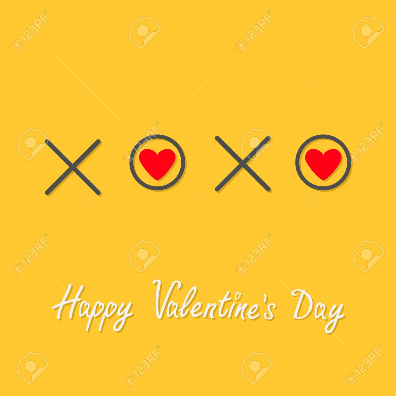Xoxo Hugs And Kisses Sign Symbol Mark Love Red Heart Word Text