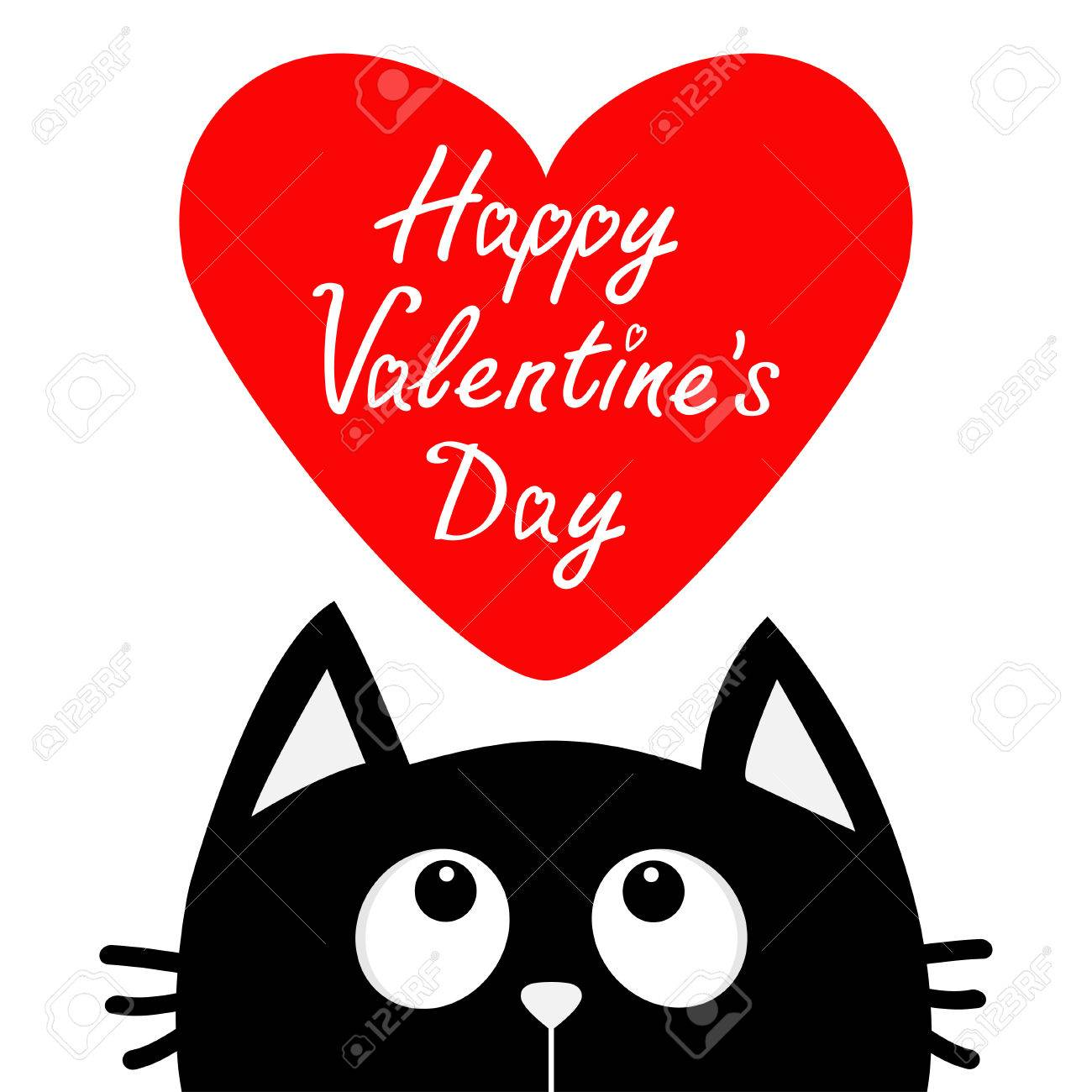 Happy Valentines Day Black Cat Looking Up To Big Red Heart