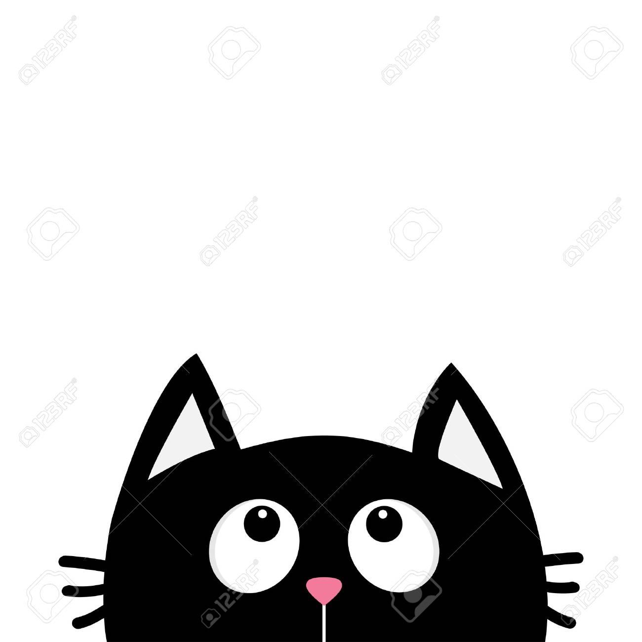 Black Cat Face Head Silhouette Looking Up Cute Cartoon Character