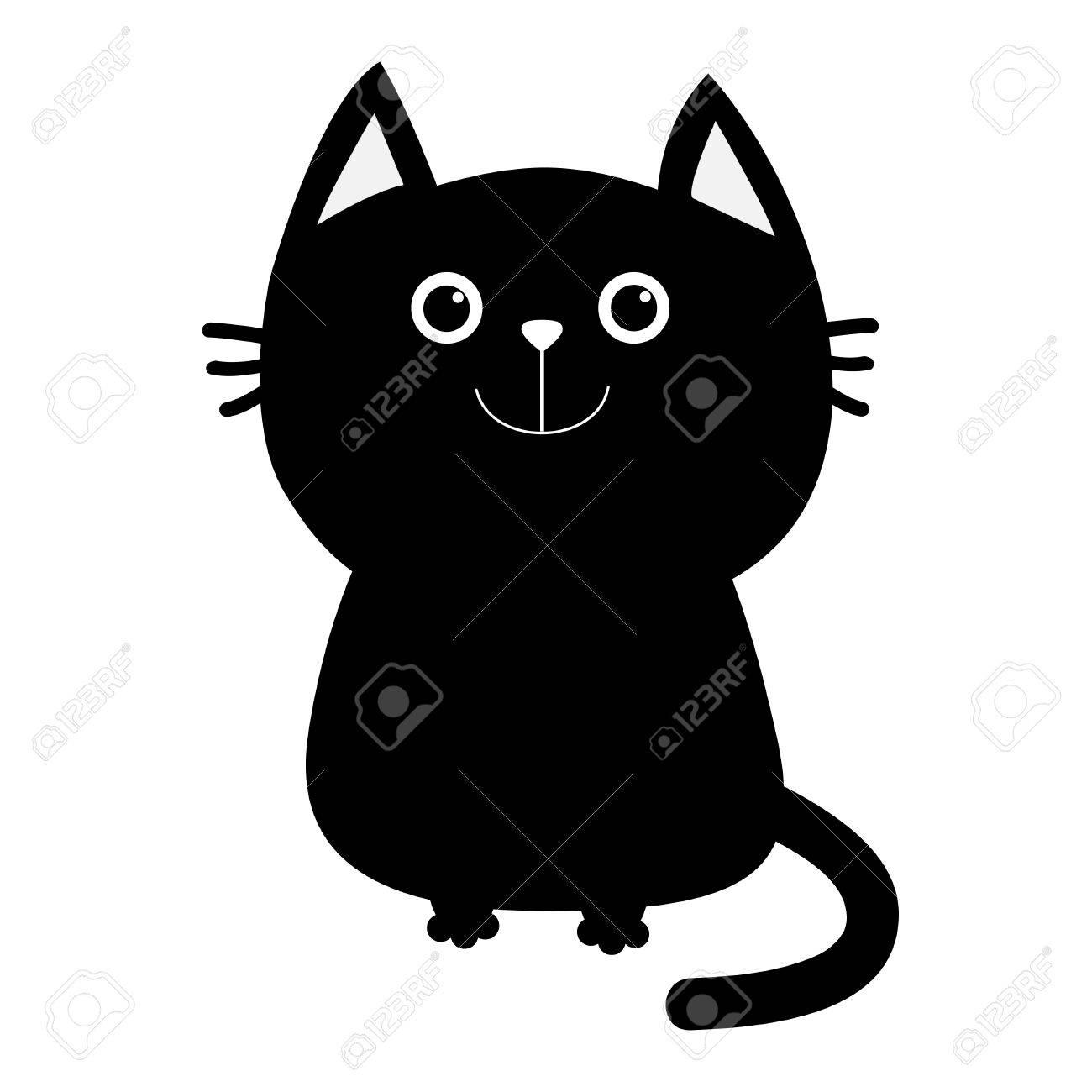 Icone De Chat Noir Personnage Souriant Mignon De Dessin Anime Drole