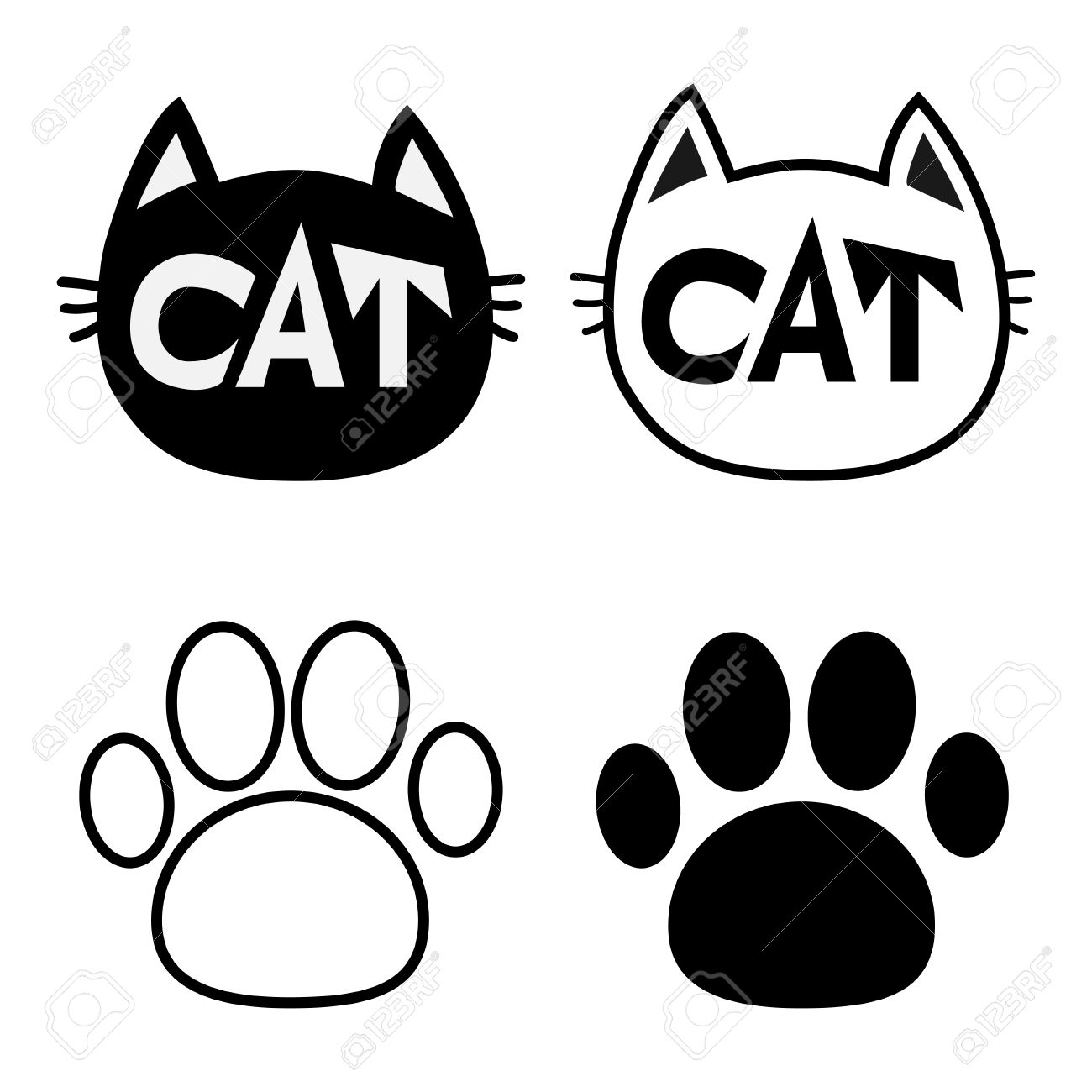 black cat head face contour silhouette icon set line pictogram rh 123rf com Real Dog Paw Print Small Dog Paw Prints