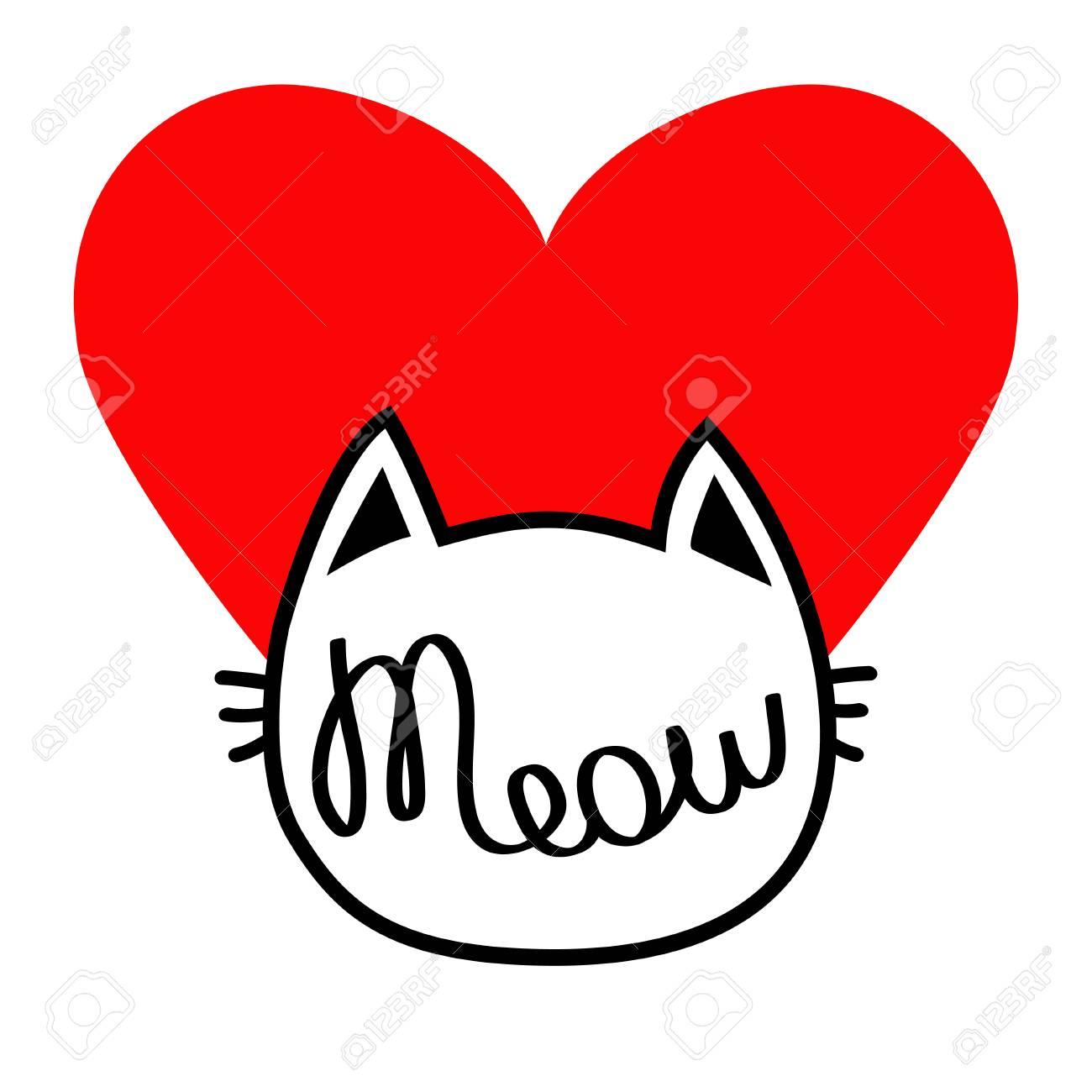 Forme De Tete De Tete De Chat Blanc Meow Texte De Lettrage Carte D