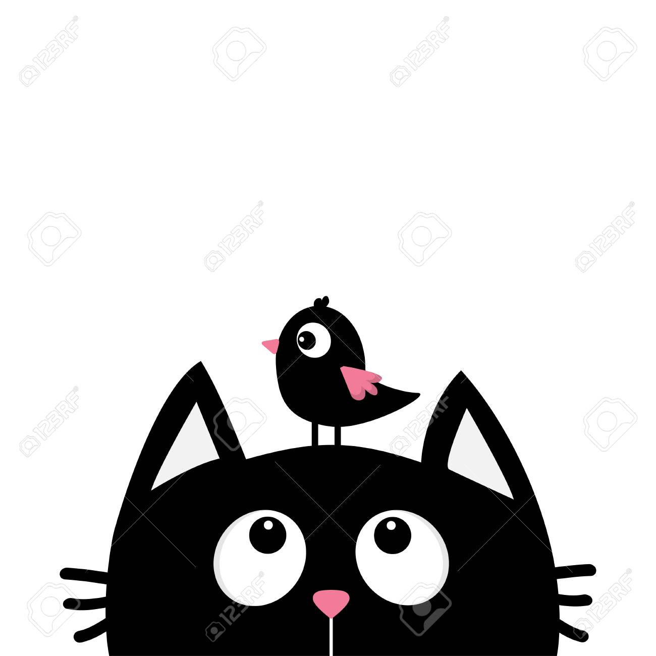 Black Cat Face Head Silhouette Looking Up To Bird Cute Cartoon