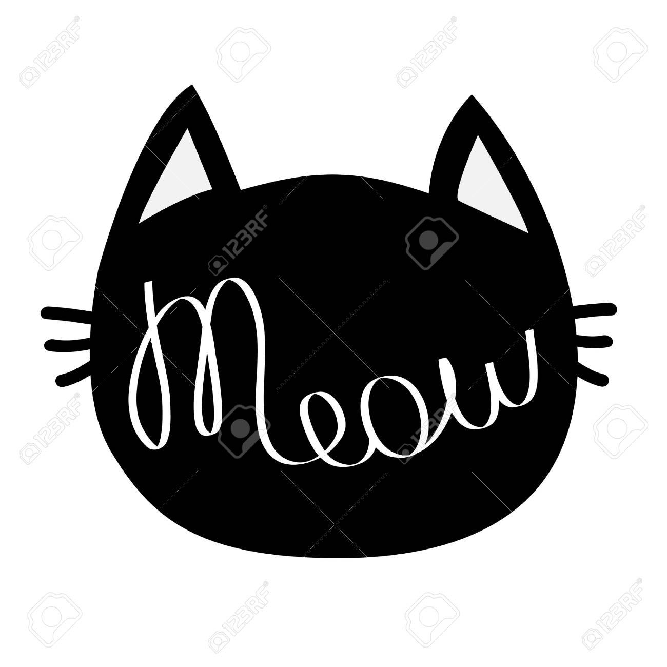 Tete De Chat Noire Meow Lettrage Du Texte De Contour Silhouette De