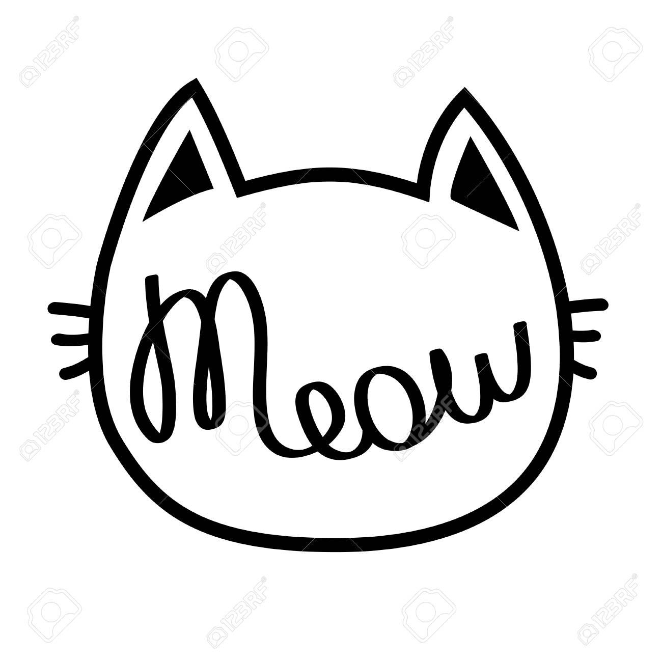 Tete De Contour De Chat Noir Meow Lettrage Texte Silhouette De