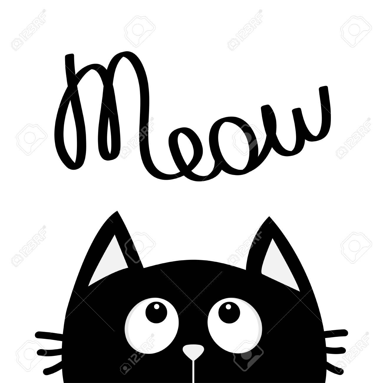 Chat Noir Regardant Au Texte De Lettrage Meow Personnage De Dessin