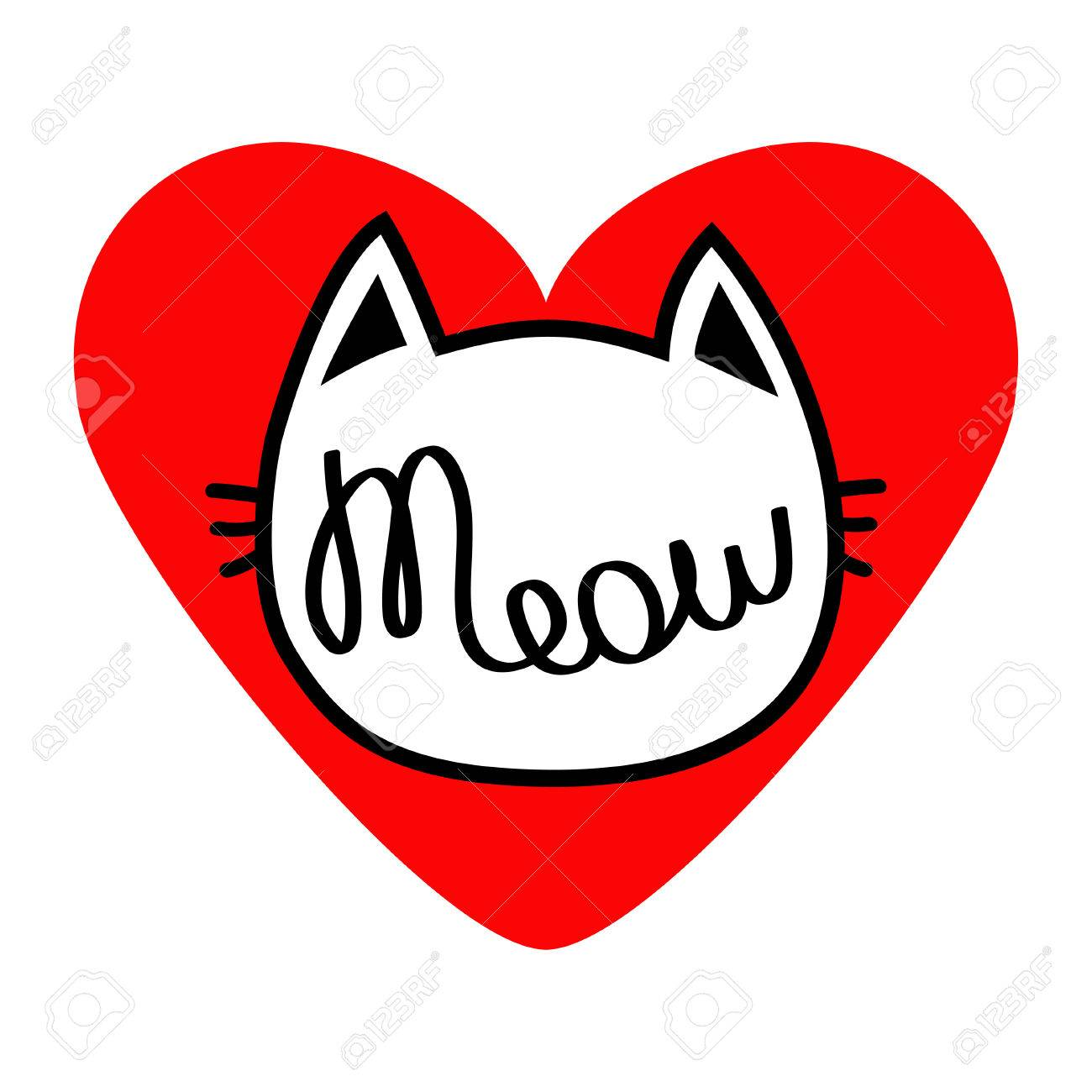Cat head silhouette shape meow lettering text love card cute cat head silhouette shape meow lettering text love card cute cartoon character buycottarizona Image collections