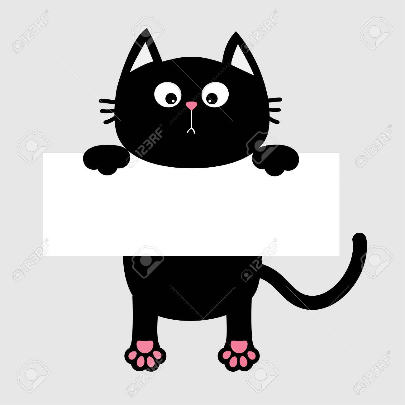Black funny cat hanging on paper board template kitten body black funny cat hanging on paper board template kitten body with paw print tail pronofoot35fo Choice Image
