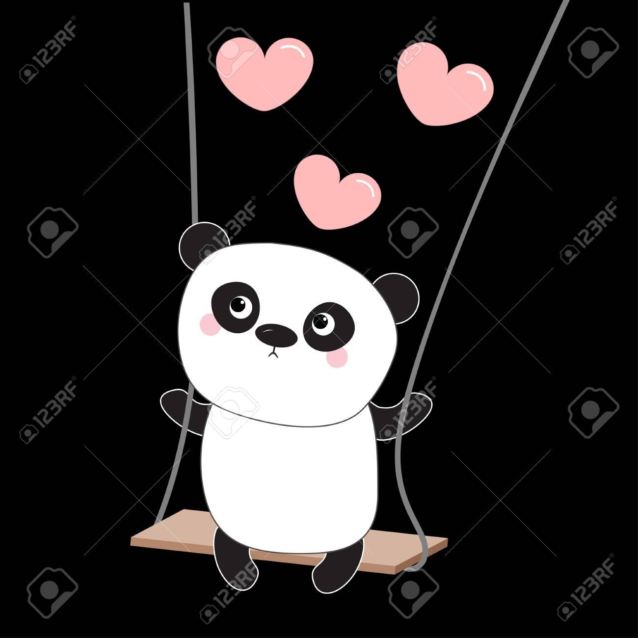 Panda ride on the swing pink flying hearts valentines day symbol pink flying hearts valentines day symbol cute fat biocorpaavc