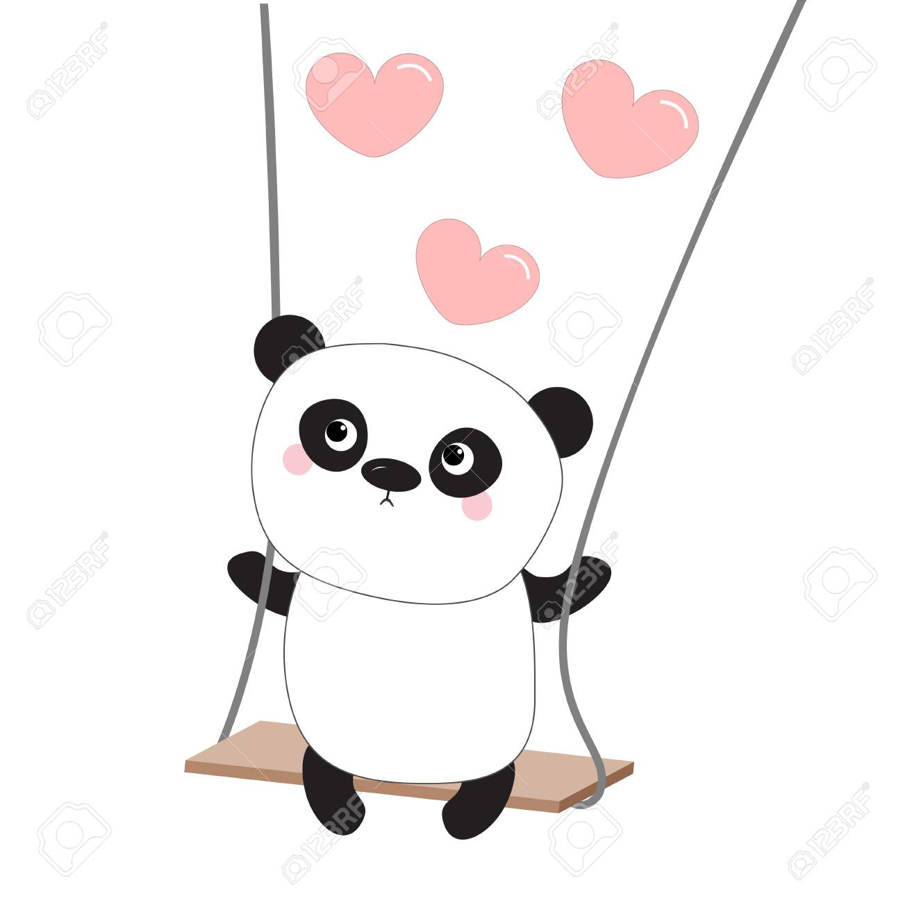 Panda Ride On The Swing Pink Flying Hearts Valentines Day Symbol
