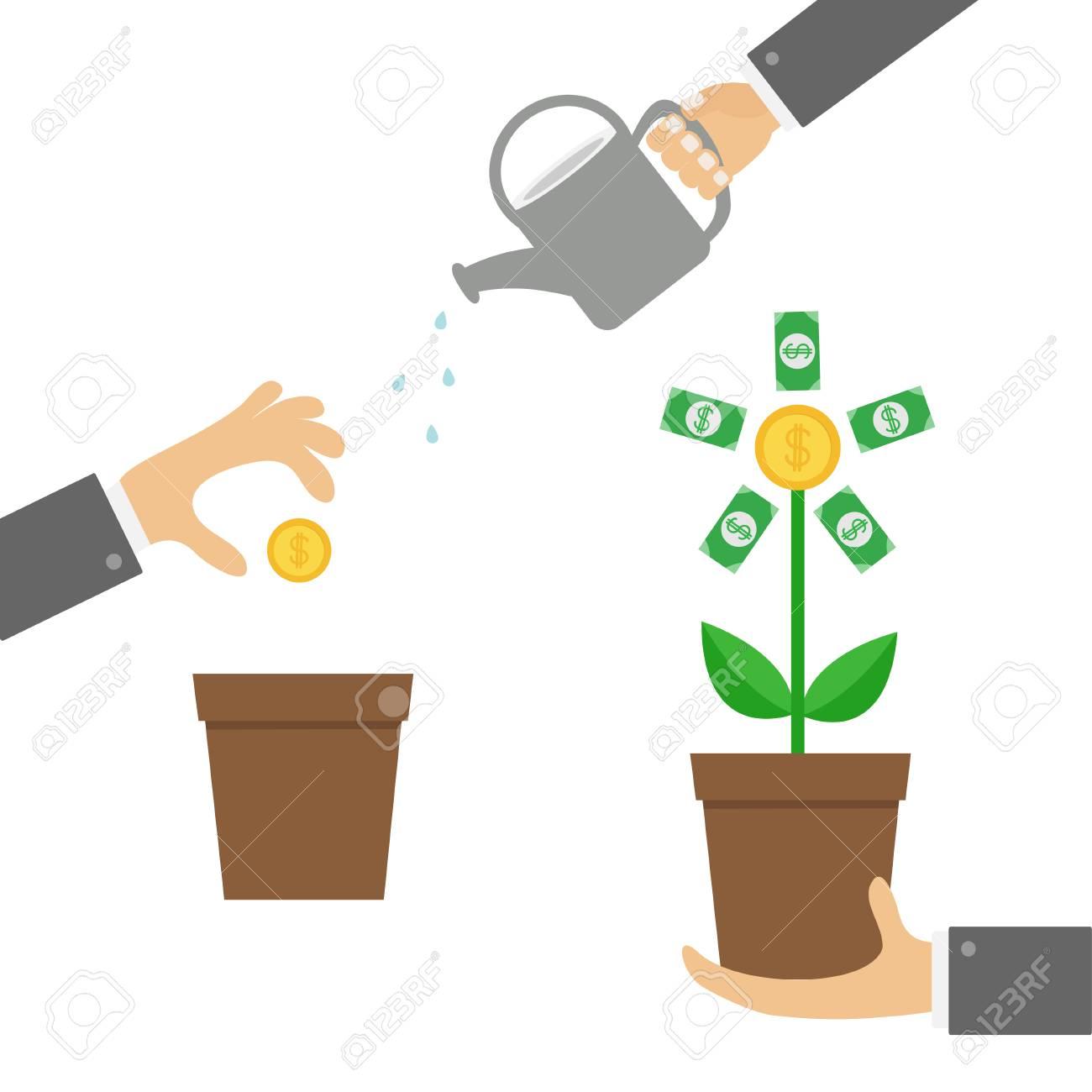 three step infographic businessman hand holding money tree rh 123rf com Cartoon Money Clip Art Animated Money Clip Art