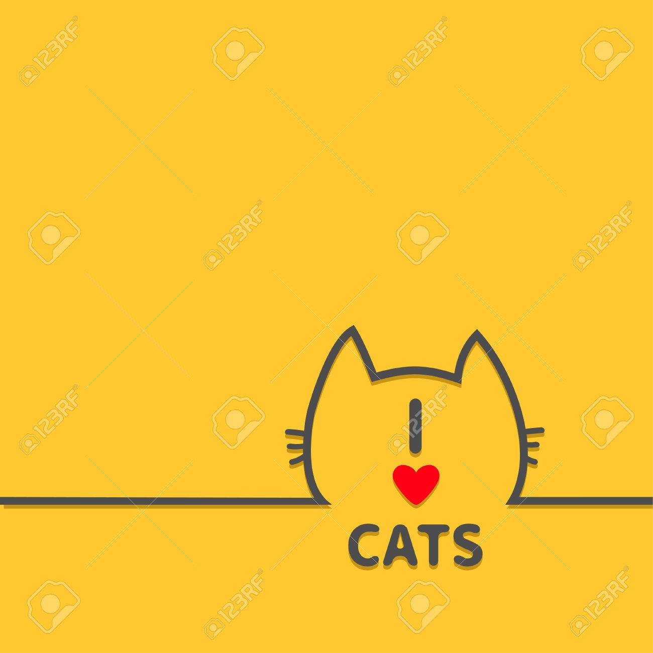 Black Cat Head Face Contour Silhouette Line Icon Cute Cartoon
