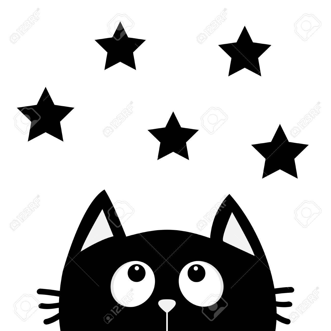Chat Noir Regardant En Forme Détoile Jaime Les Chats Personnage Drôle De Dessin Animé Mignon Kawaii Animal Carte De Voeux Damour Style Design
