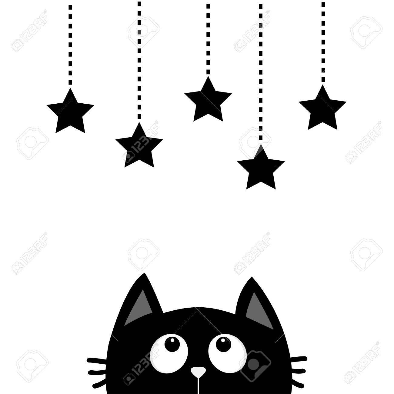 Chat Noir Regardant Les Etoiles Suspendues Ensemble De Forme D