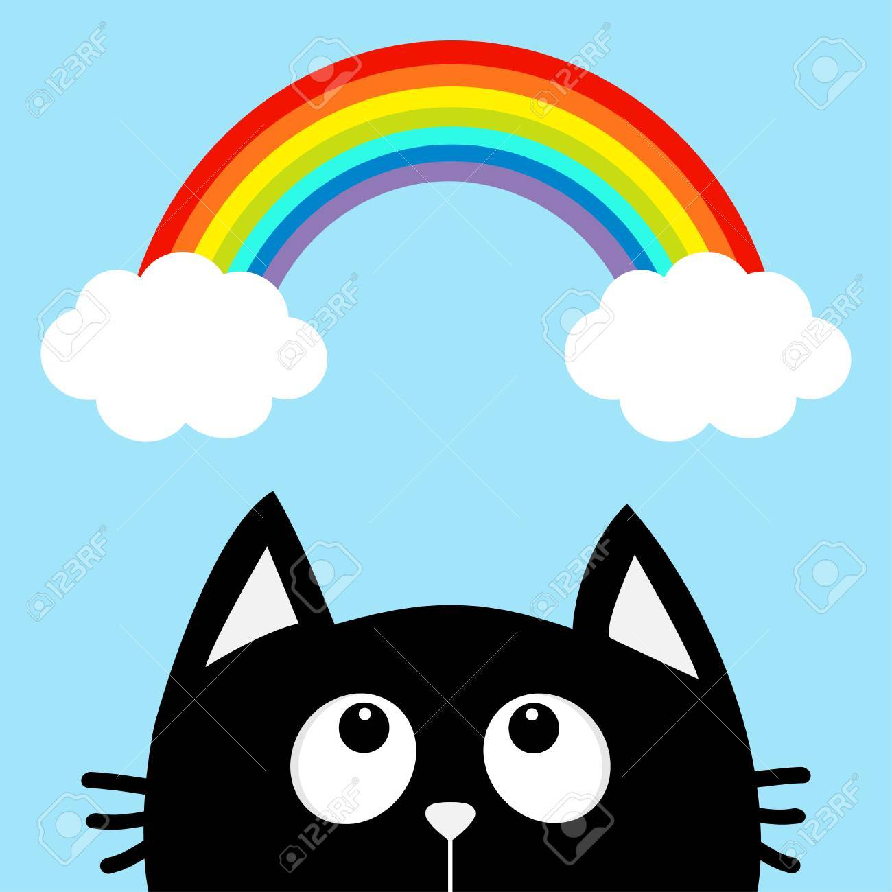 Black Cat Looking Up To Cloud And Rainbow Cute Cartoon Character