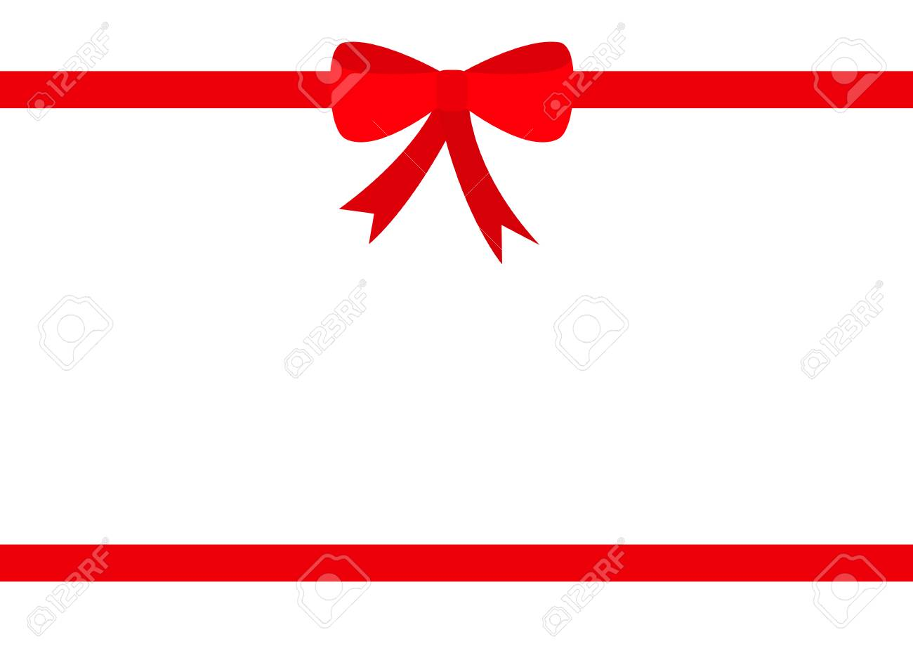 two red ribbon with christmas bow icon gift box decoration element