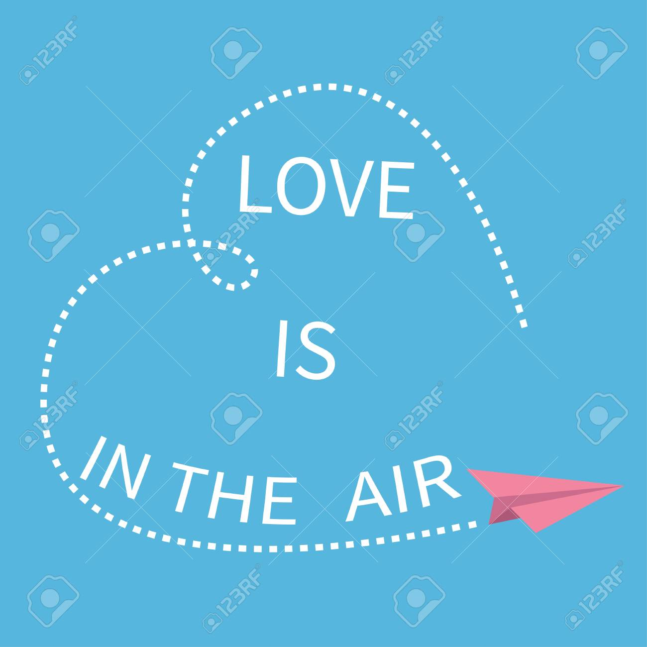 Love is in the air lettering text flying origami paper plane flying origami paper plane dashed heart line jeuxipadfo Gallery