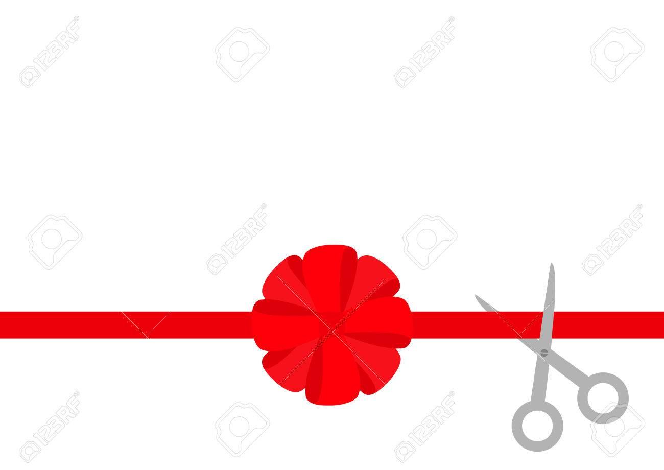 Scissors Cut Straight Red Ribbon. Big Round Bow. Business Beginnings ...