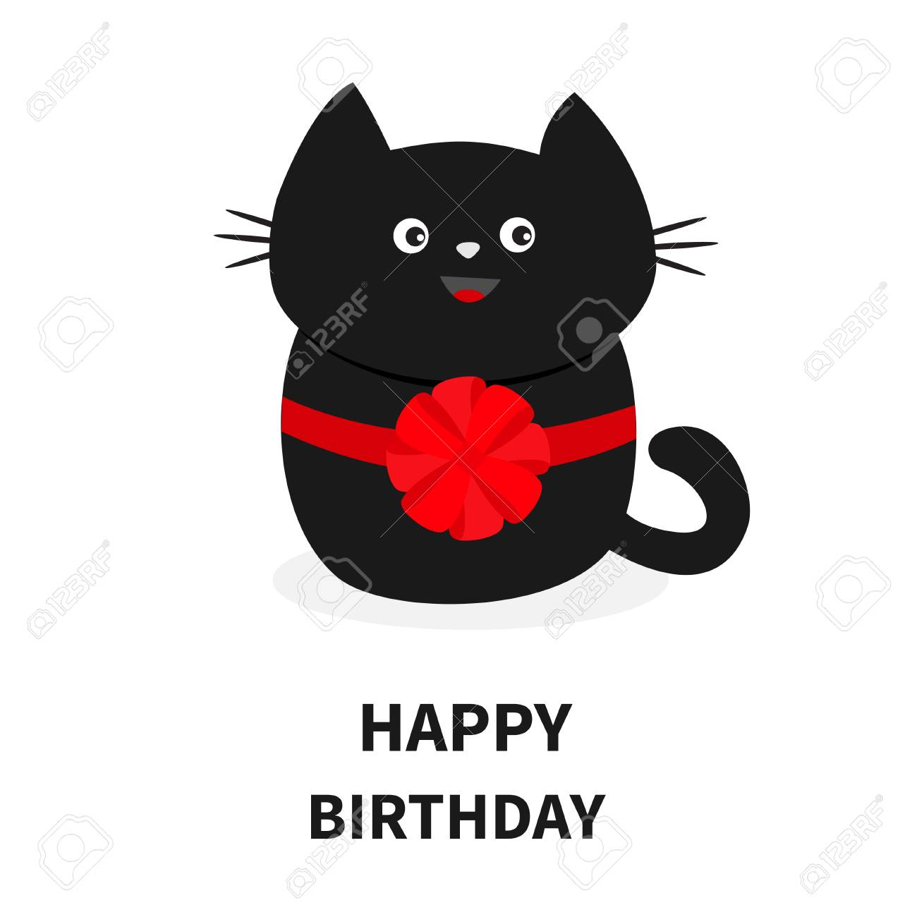 Black Cat Icon With Round Red Bow Cute Funny Cartoon Character Happy Birthday