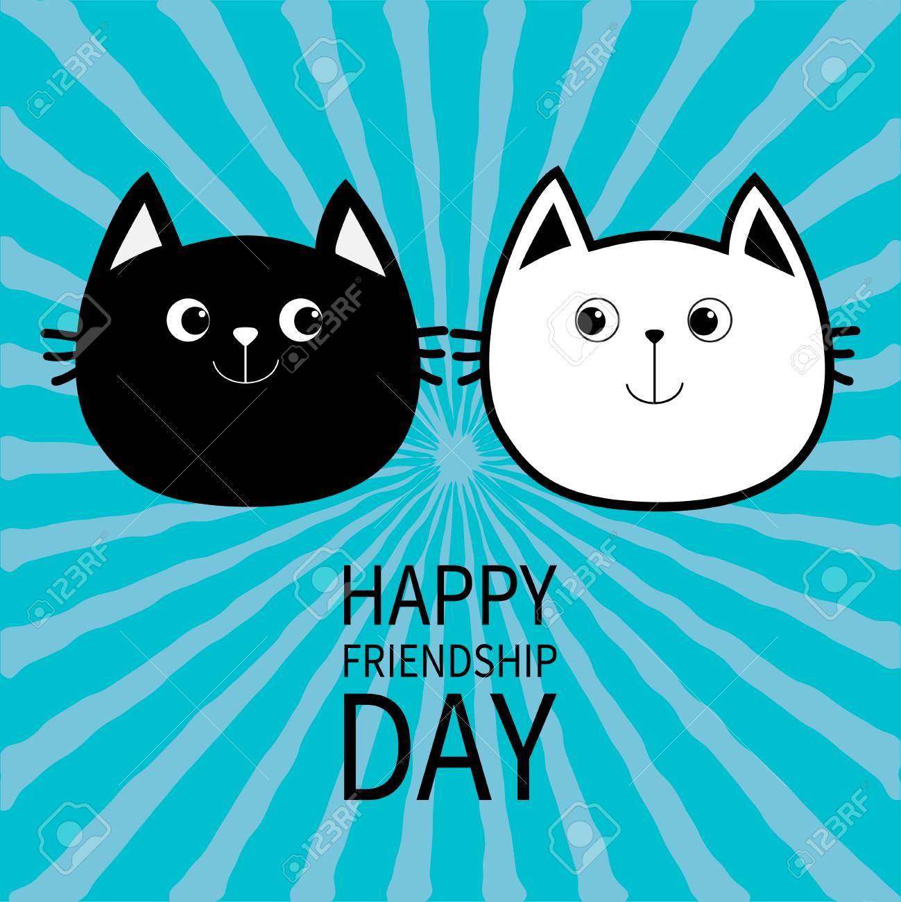 Happy Friendship Day Black White Contour Cat Head Couple Family