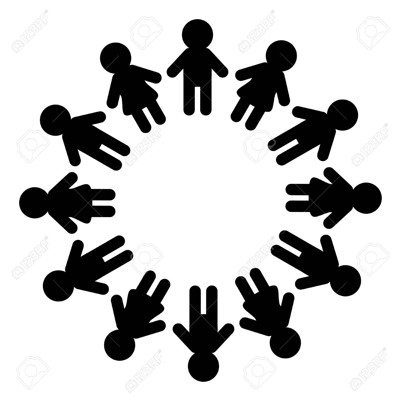 Man And Woman Pictogram Icon Sign People Round Circle Timework