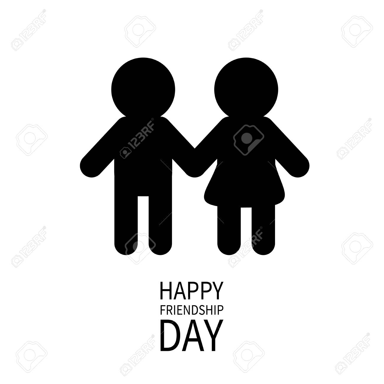 happy friendship day boys girls holding hands icon friends