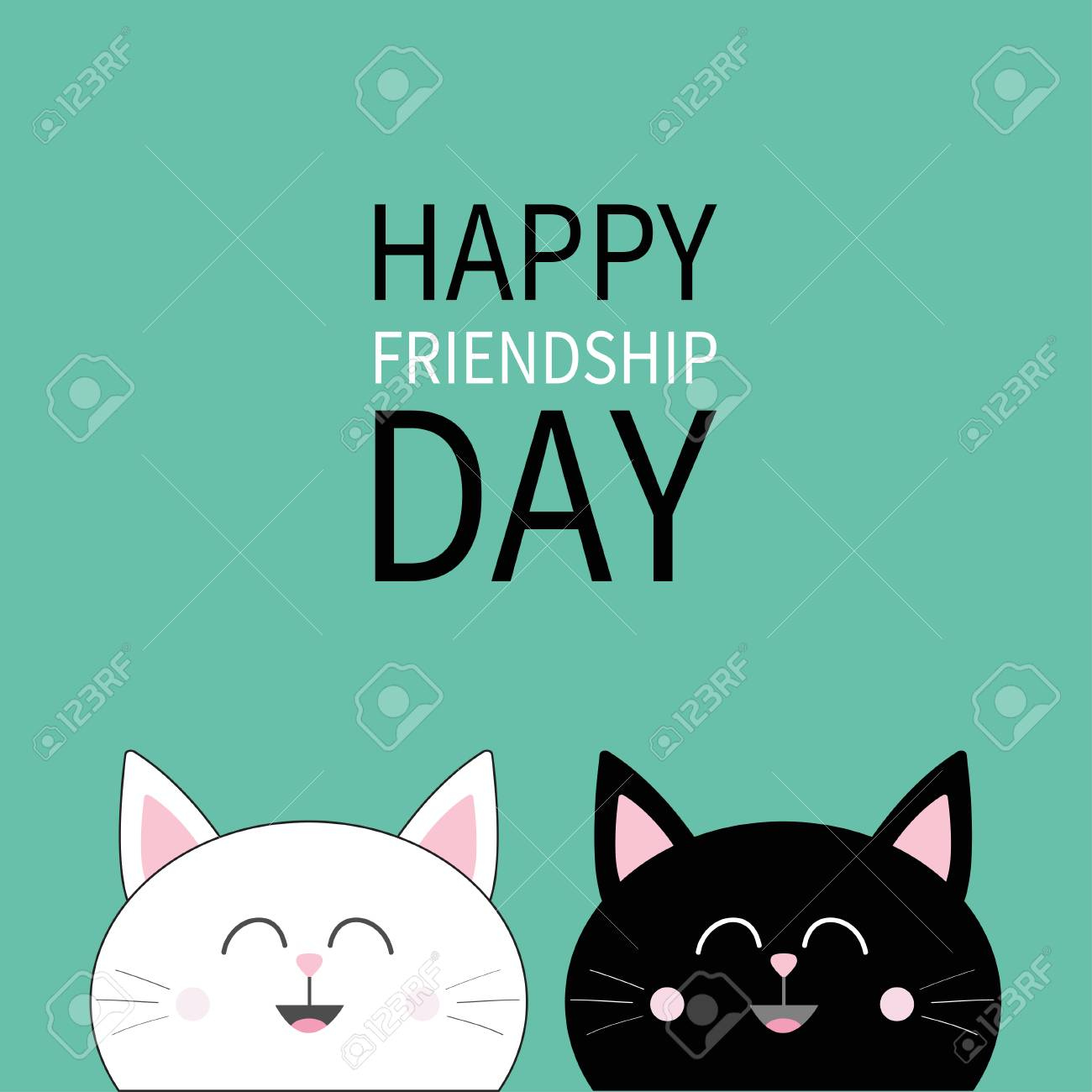 Happy Friendship Day Black White Head Icon Cute Funny Cartoon