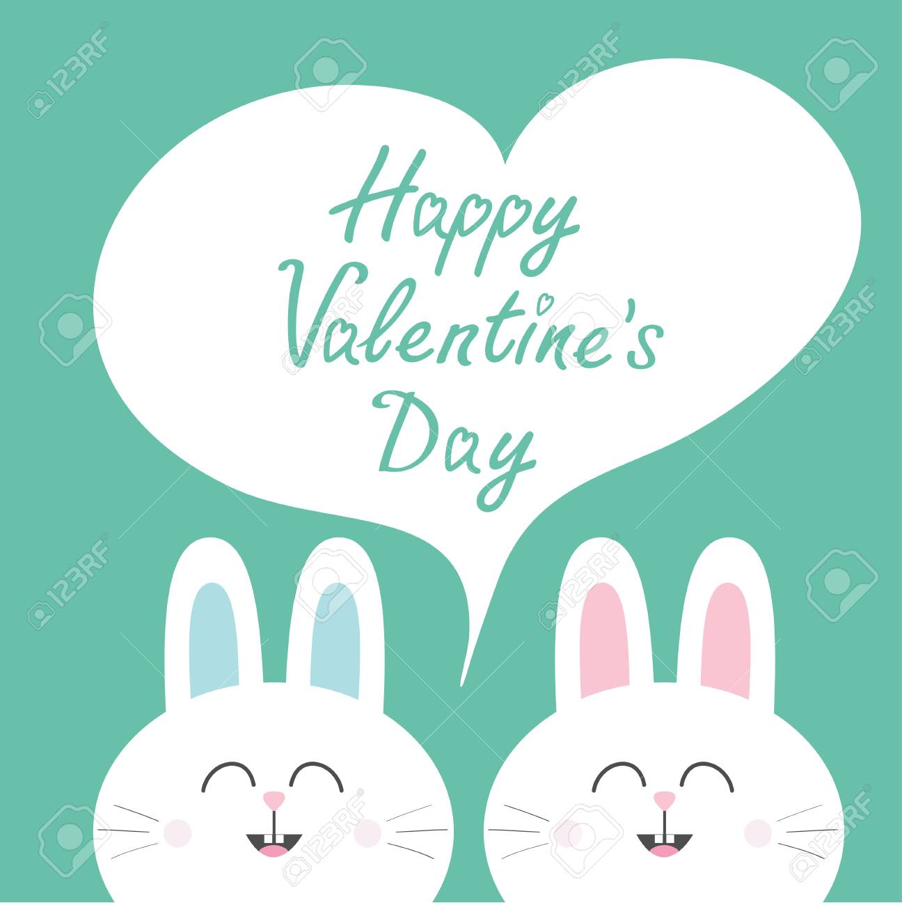 Happy Valentines Day. White Bunny Rabbit Couple. Heart Frame ...