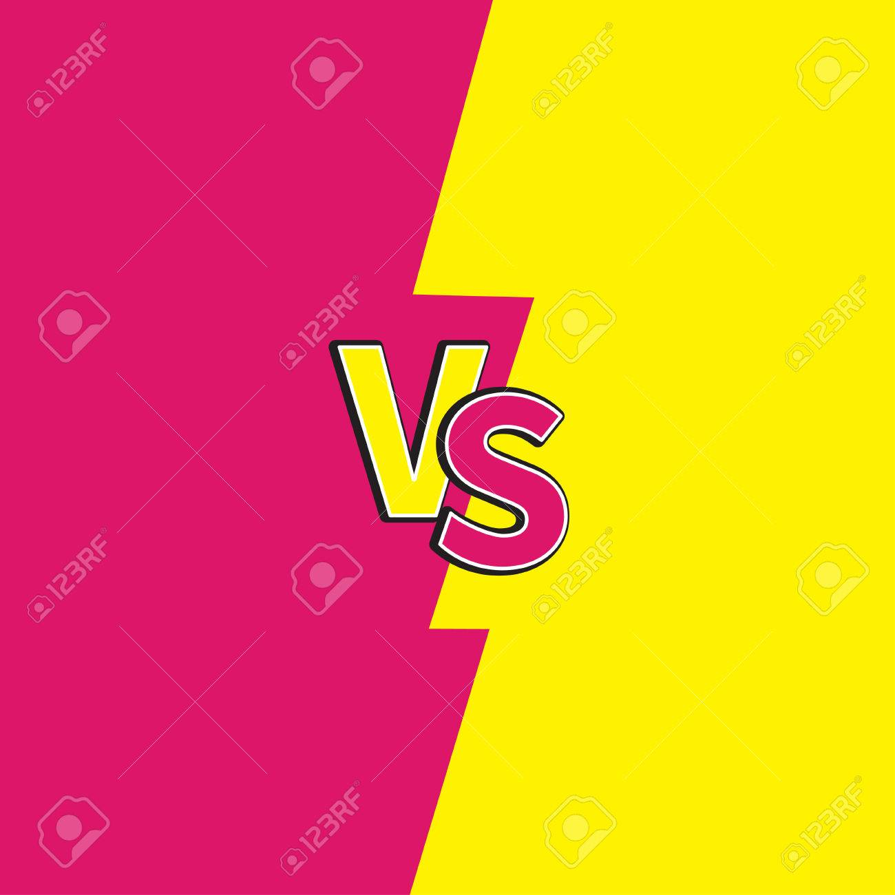 vector versus letters or vs battle fight competition cute cartoon style pink yellow background template flat design vector illustration