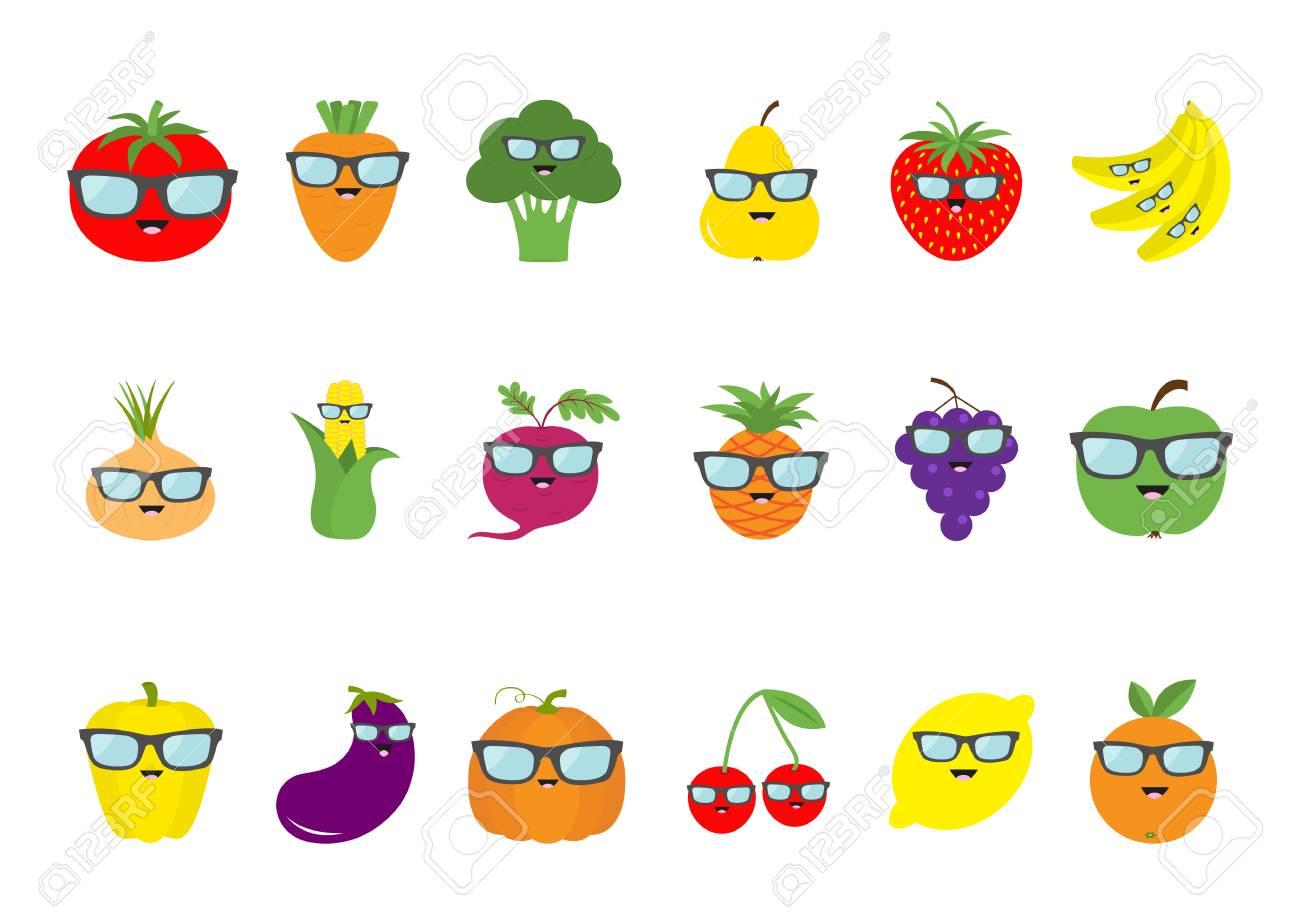 2c6135b48b7c1 Fruit berry vegetable face sunglasses icon set. Pear strawberry banana