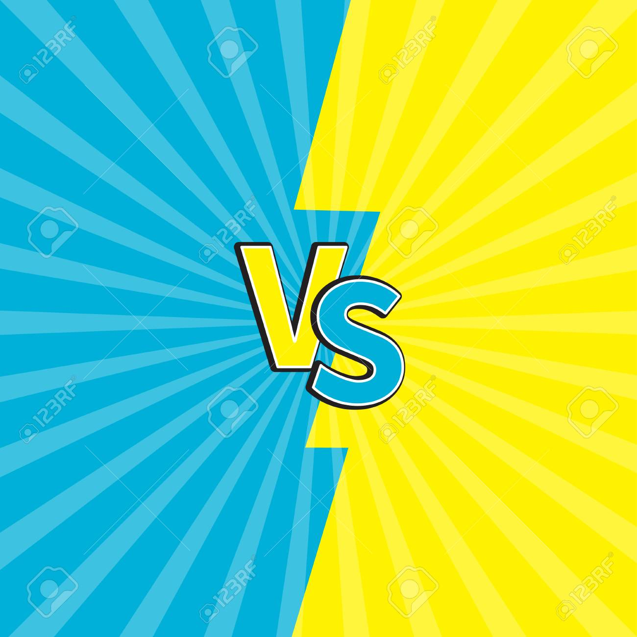 vector versus letters or vs battle fight competition cute cartoon style blue yellow background template sunburst with ray of light starburst effect