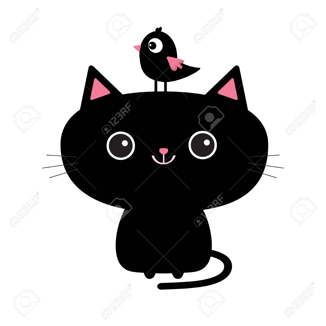 Cute Black Cat Icon Bird Sitting On Head Face Funny Cartoon