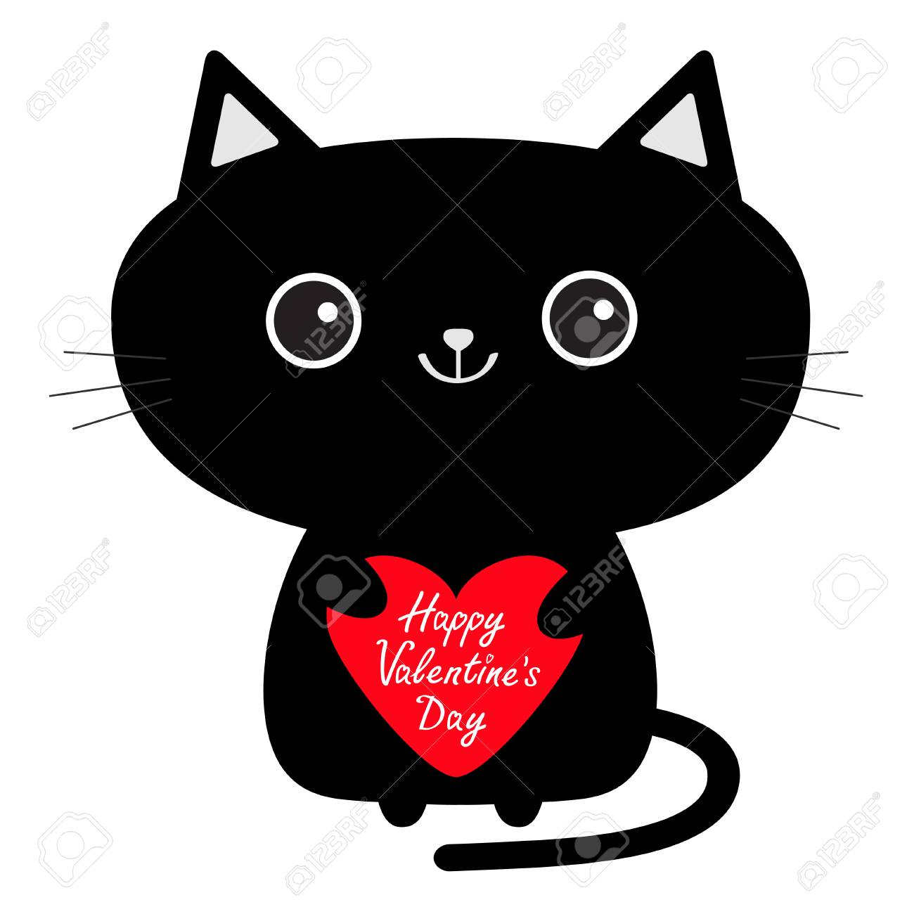 Happy Valentines Day Cute Black Cat Icon Holding Red Heart
