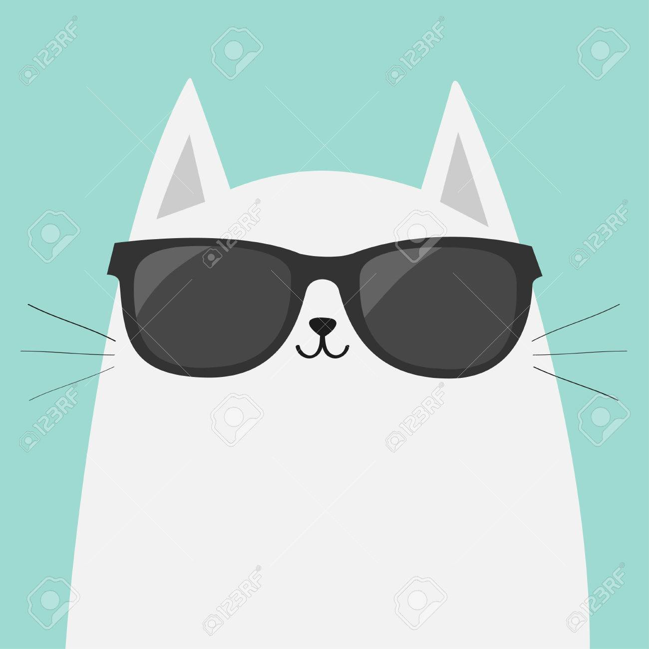 28df91e62e1 White cat wearing sunglasses eyeglasses. Black lenses. Cute cartoon funny  character. Kitten in