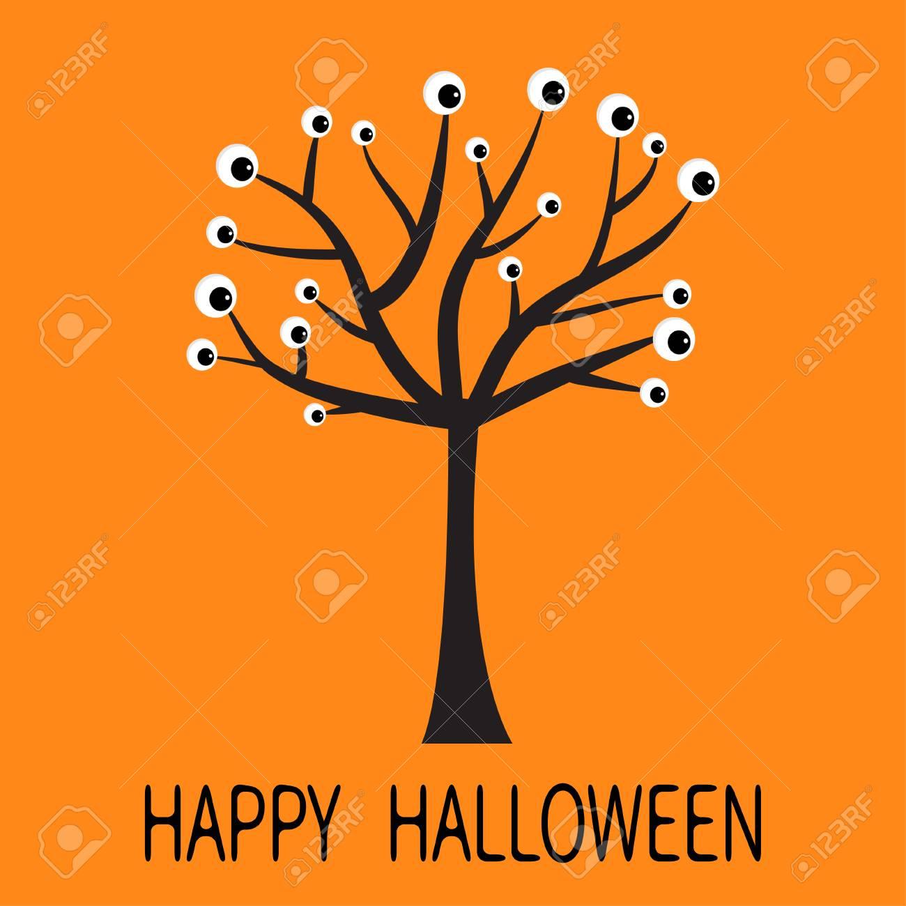Happy Halloween Greeting Card. Black Tree Silhouette With Eyes. Plant  Branch. Cartoon Eyeball