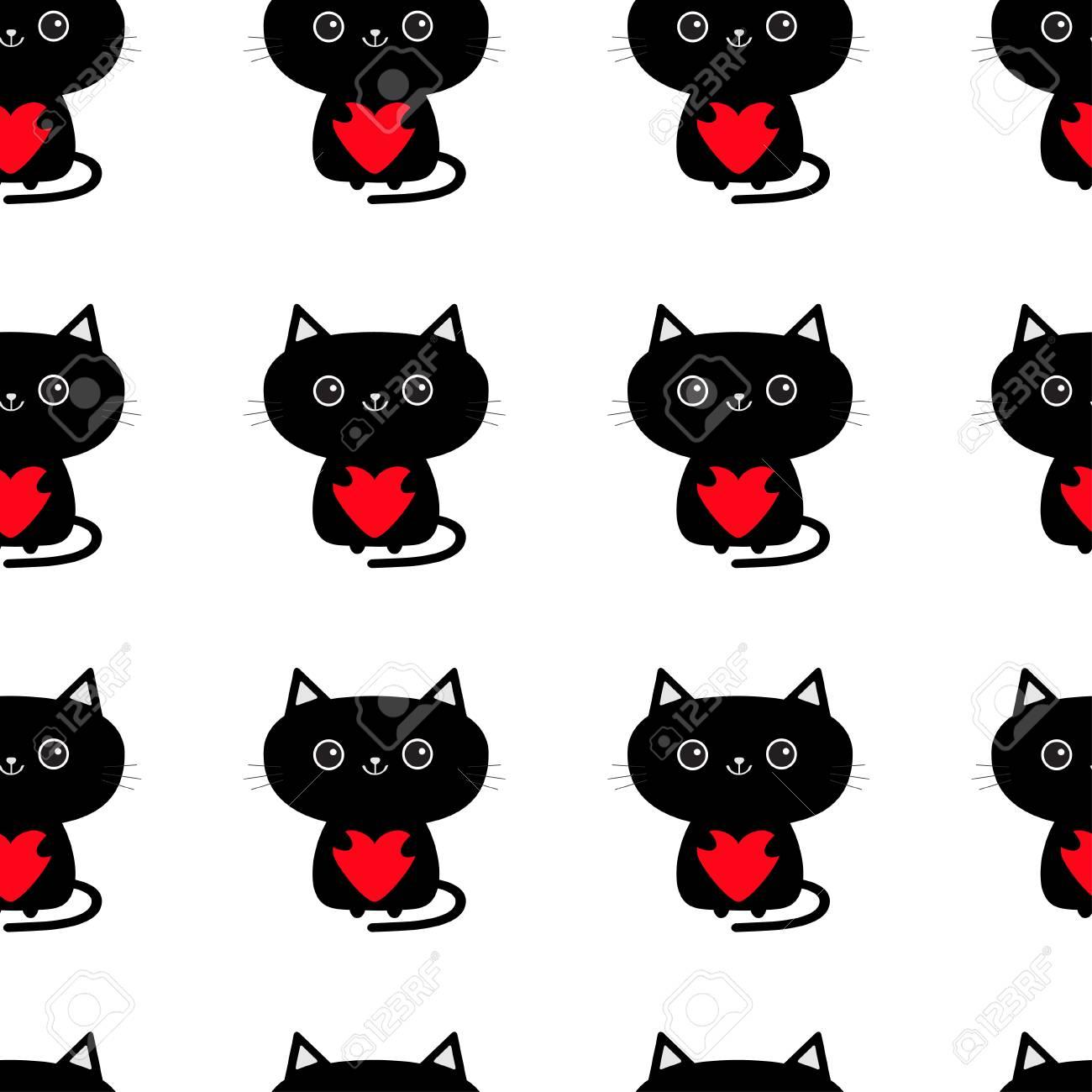 Patrón Sin Costuras Lindo Gato Negro Con Corazón Rojo. Personaje De ...
