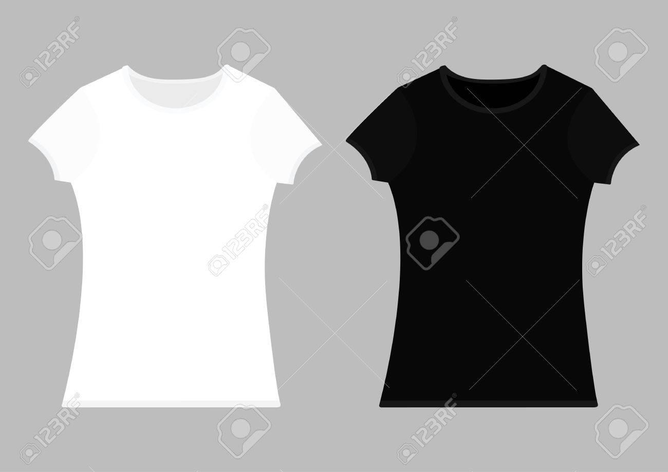 t shirt template set white black color man woman unisex model