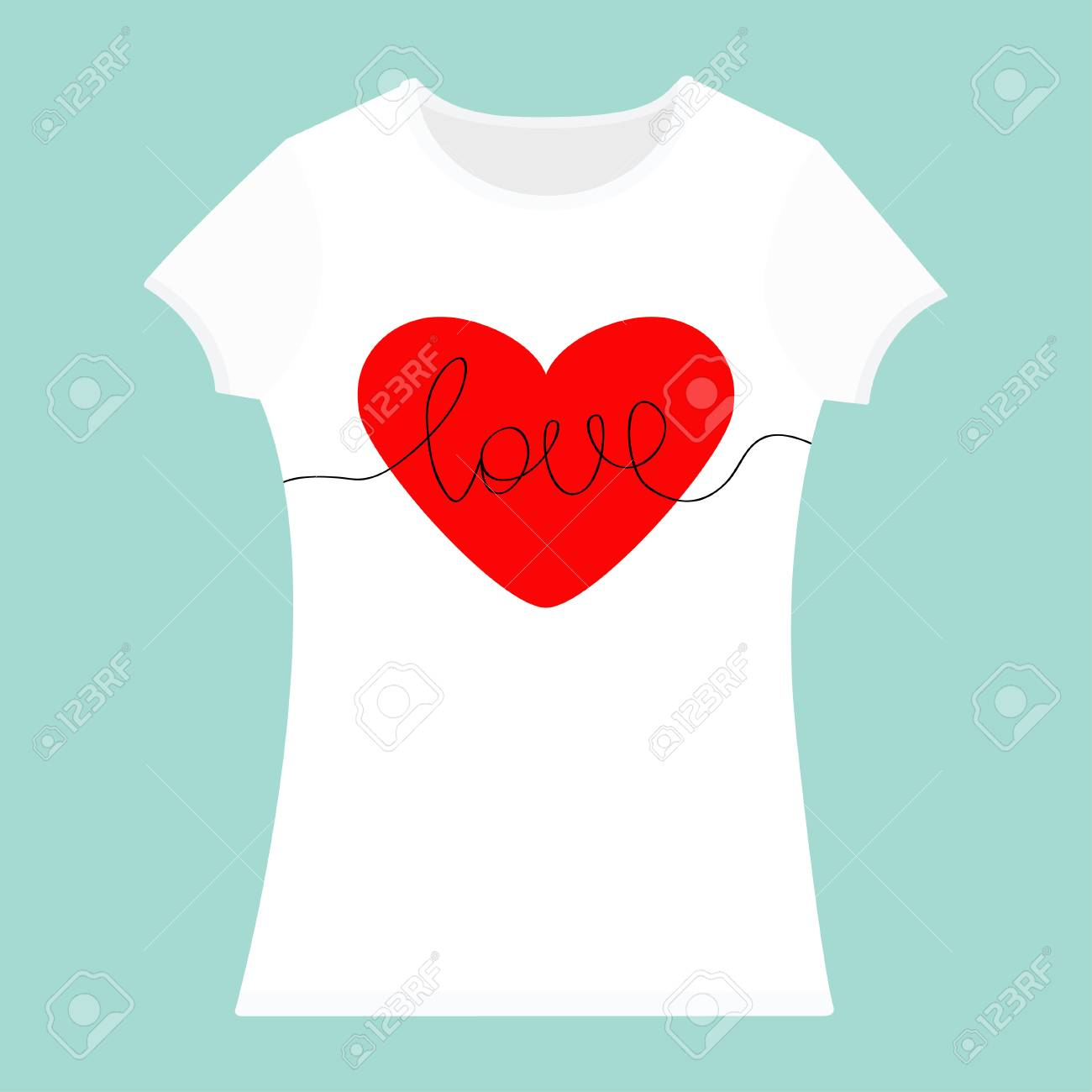235e6b8bc2d8 Red heart. T-shirt template. White color. Woman model. T shirt mockup.  Front side. Flat design. Isolated. Blue background. Vector illustration