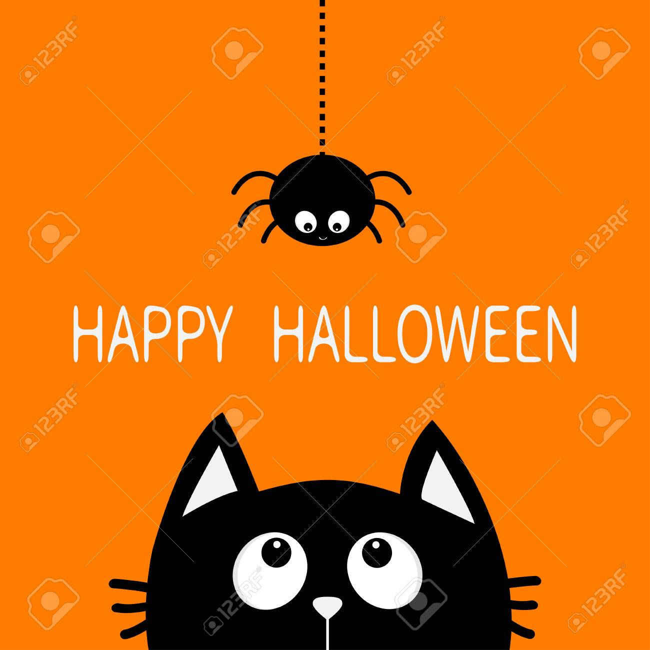 Happy Halloween Black Cat Face Head Silhouette Looking Up To