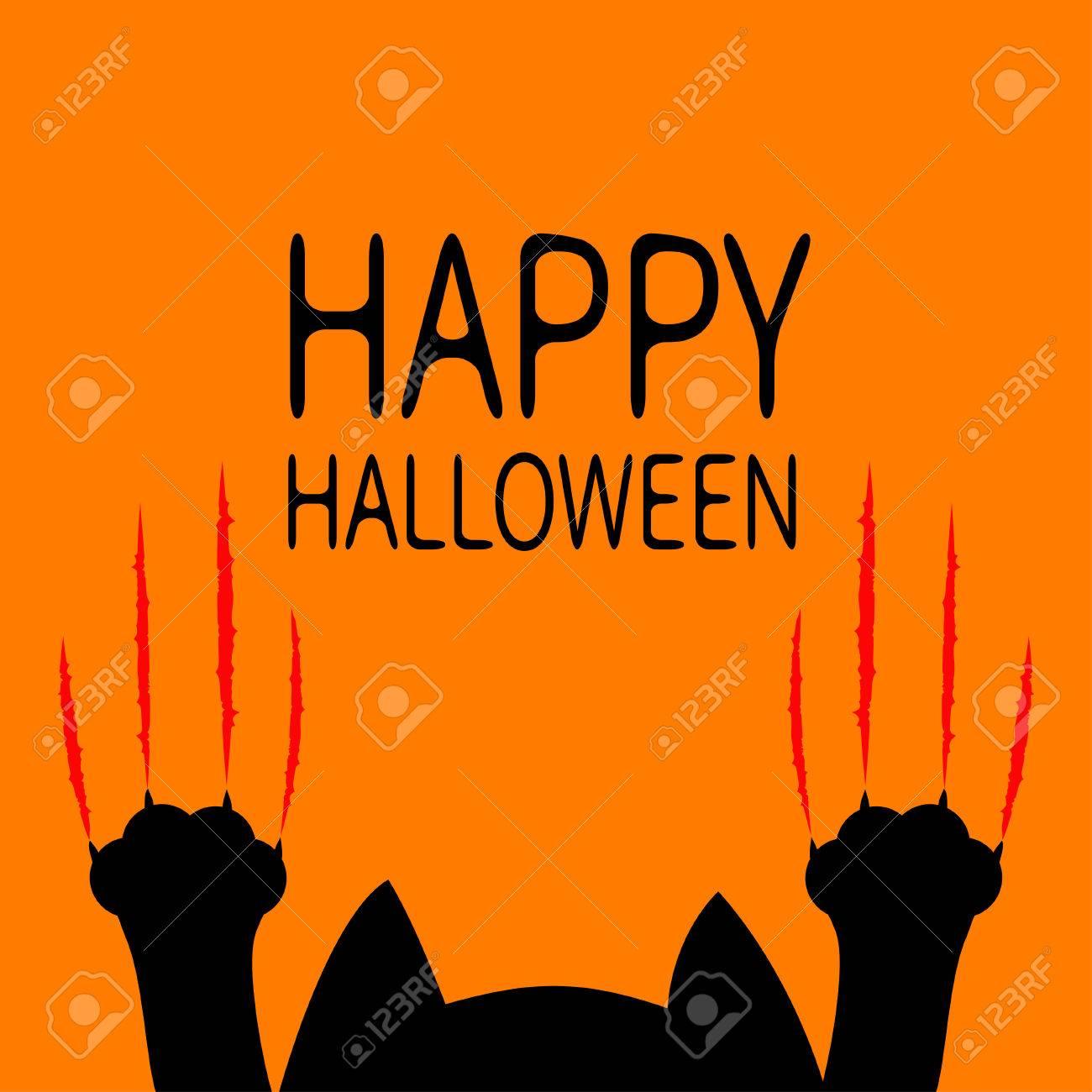 happy halloween card black cat paw print head silhouette red