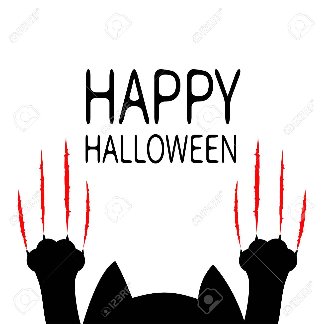 Joyeux Halloween Chat Noir De Dessin Anime Silhouette De Tete