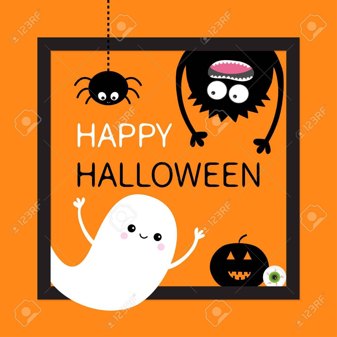 Glückliche Halloween-Karte. Quadratischer Rahmen. Fliegender Geist ...