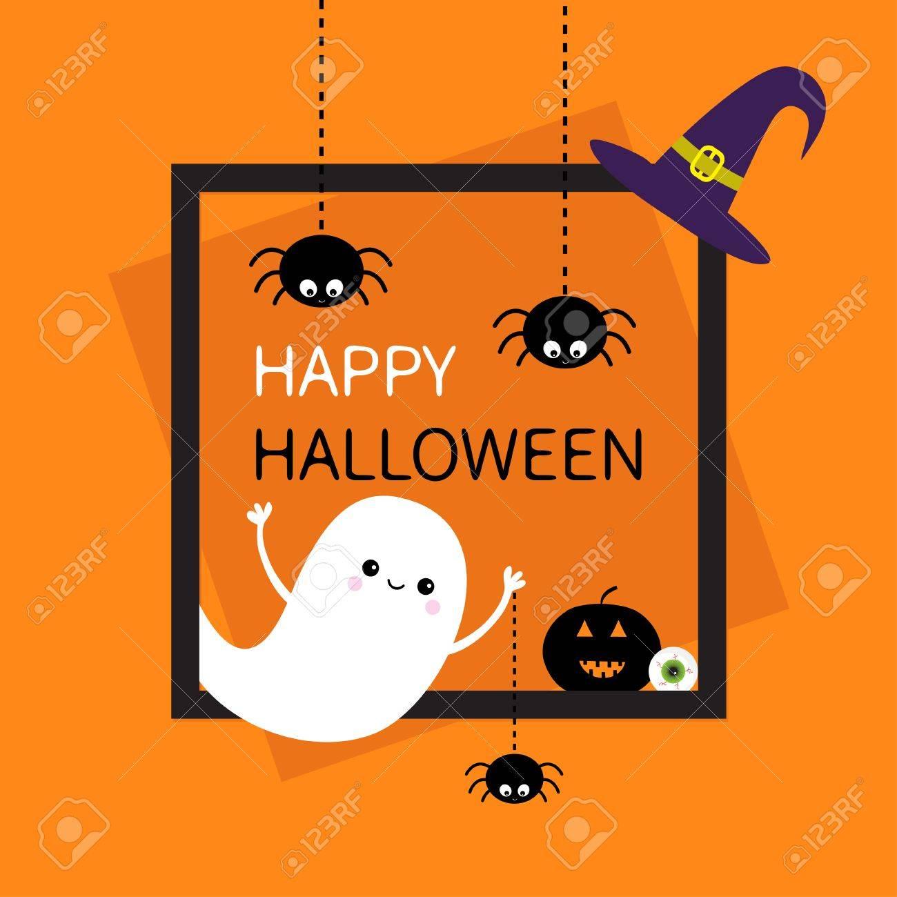 Fröhliches Halloween. Quadratischer Rahmen. Flying Ghost Drei ...