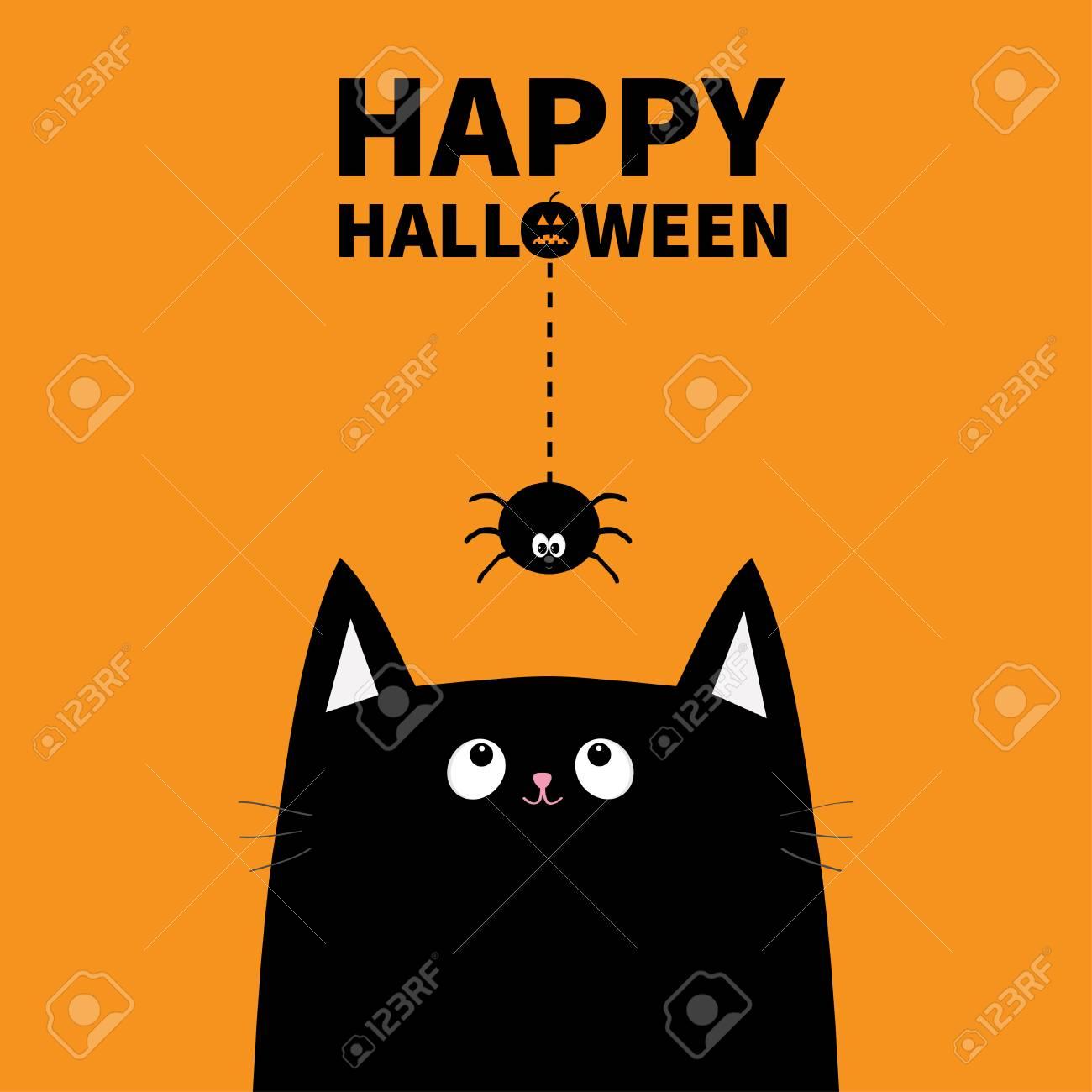 Happy Halloween Pumpkin Text Black Cat Face Head Silhouette