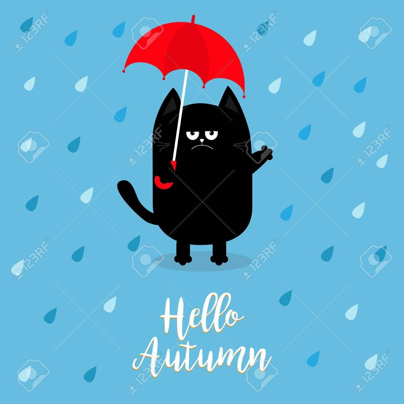 Bonjour Automne Chat Noir Tenant Un Parapluie Rouge Gouttes De Pluie émotion Triste En Colère La Haine Tombe Personnage Mignon De Bébé Drôle De