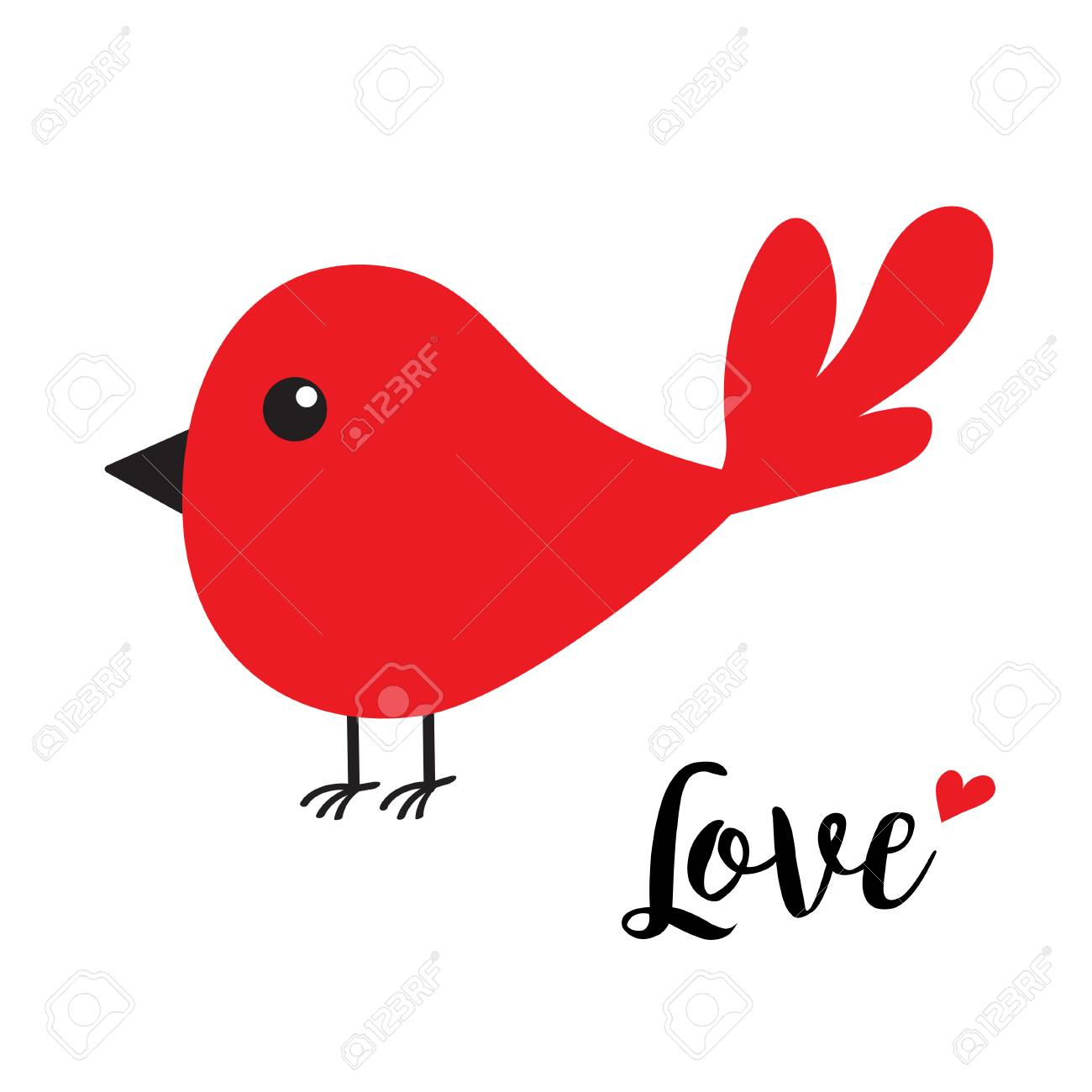 Red Bird Happy Valentines Day Cute Cartoon Character Word