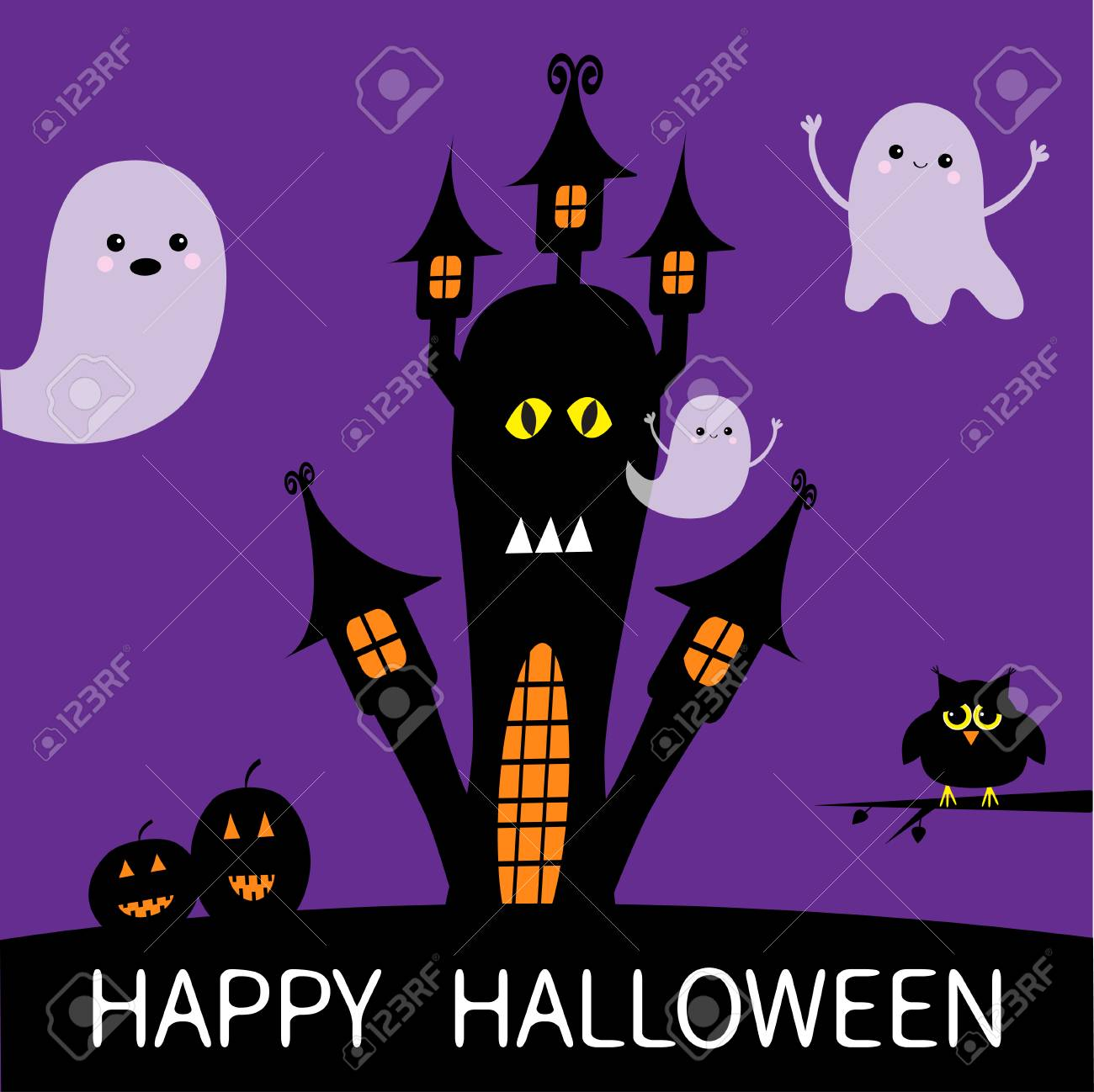 halloween card. haunted house silhouette with eyes, windows