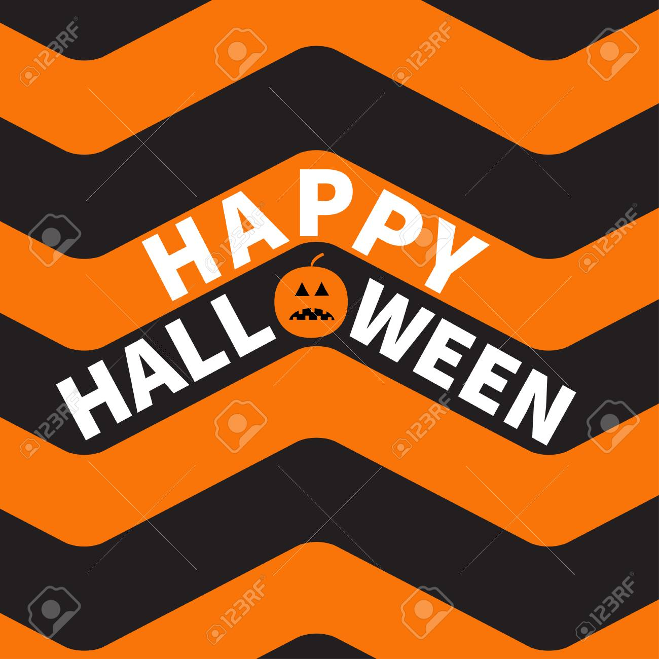Happy Halloween Text Pumpkin Smiling Face. Zigzag Waves. Sea ...