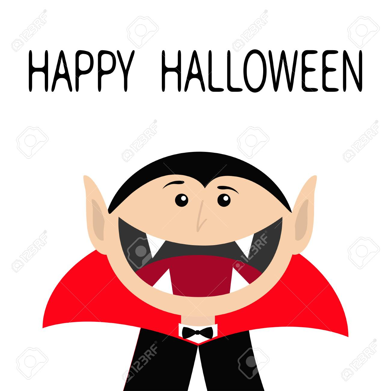Happy Halloween. Count Dracula Head Face Wearing Black And Red ...