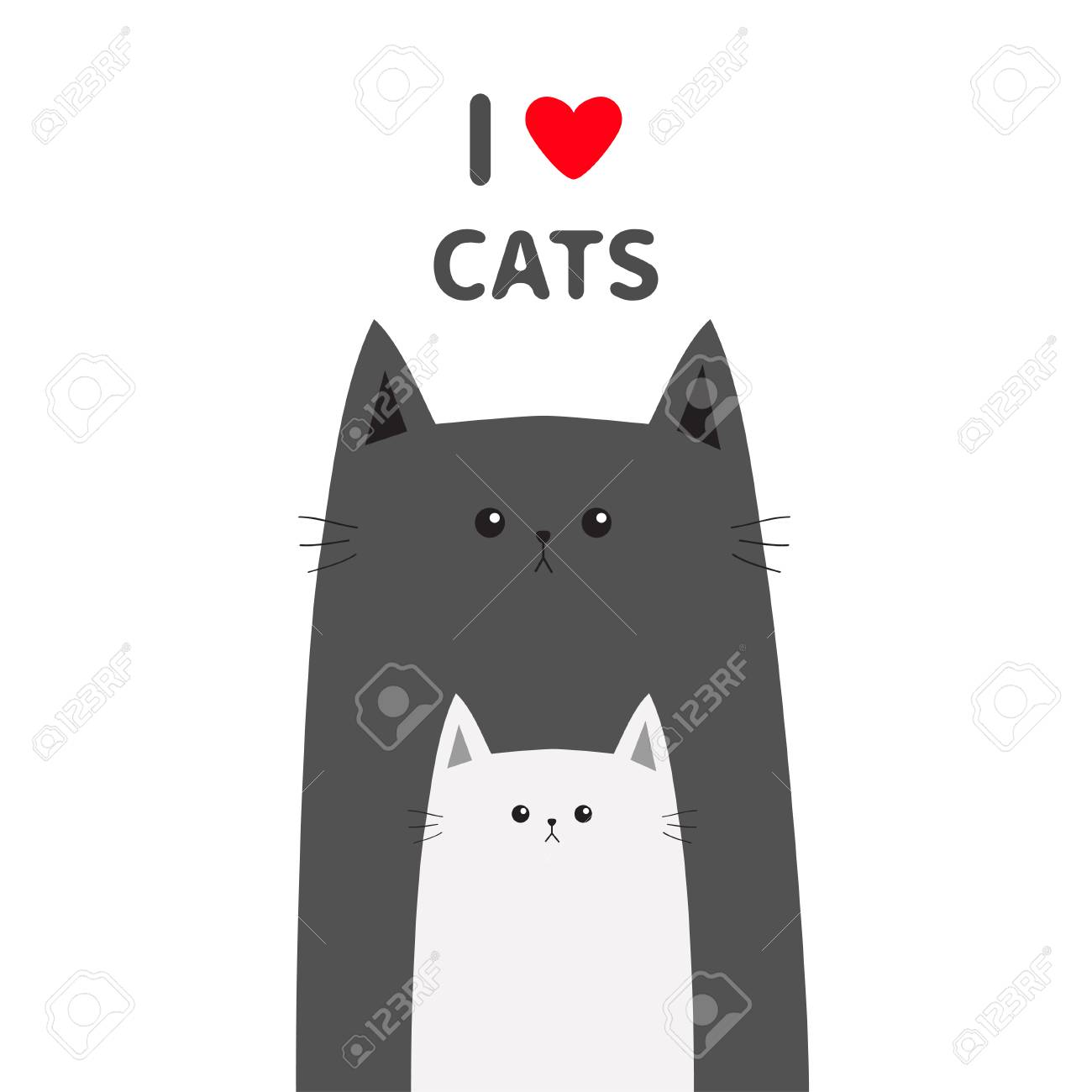 Gray White Cat Head Face Mother Baby Different Size I Love Royalty Free Cliparts Vectors And Stock Illustration Image 87769426
